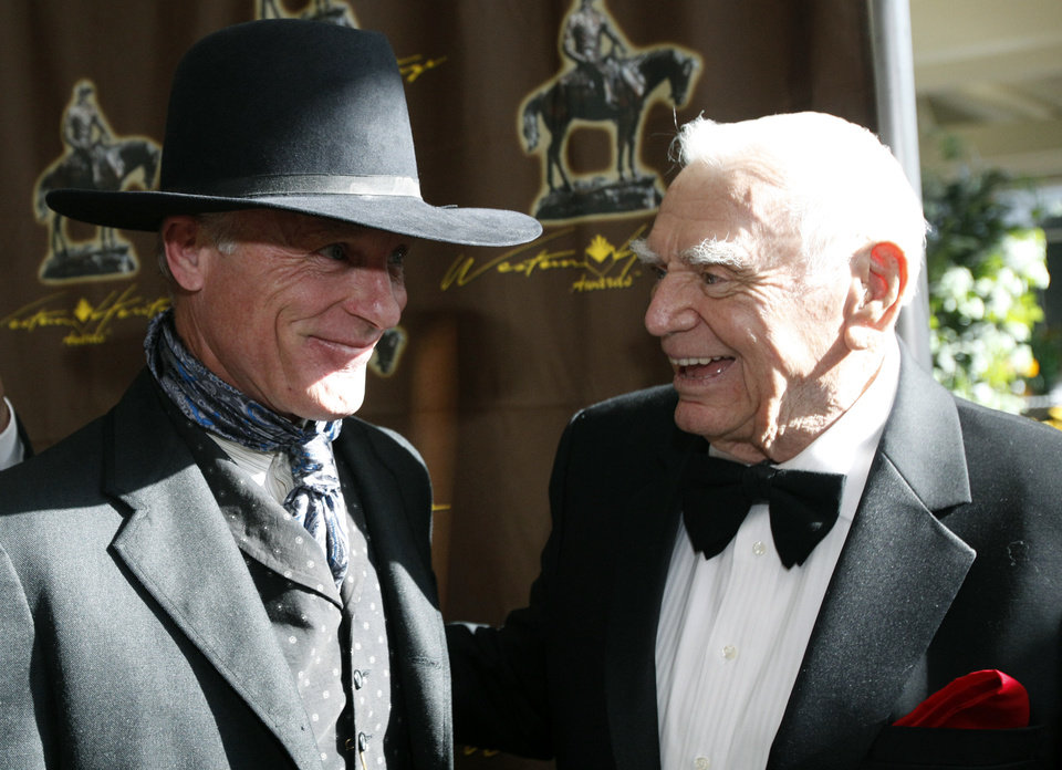 Photo - Ed Harris and Ernest Borgnine talk before the 50th annual Western Heritage Awards, Saturday, April 16, 2011, at the National Cowboy & Western Heritage Museum in Oklahoma City. Photo by Sarah Phipps, The Oklahoman ORG XMIT: KOD