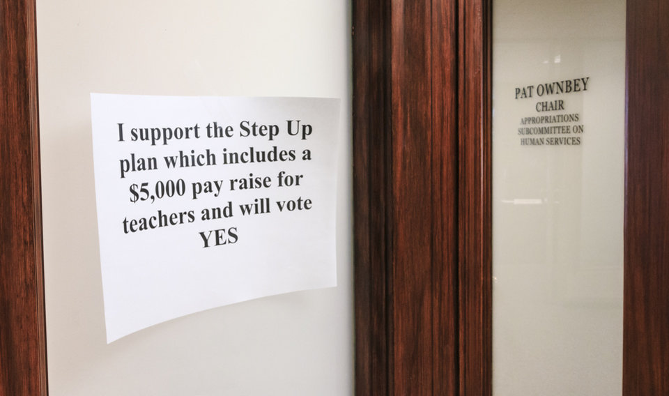 Photo - A sign of support of his vote for Step Up Oklahoma hangs outside the office of Rep. Pat Ownbey during a rally to support the Step Up Oklahoma Plan at the state capitol in Oklahoma City, Okla. on Monday, Feb. 12, 2018.    Photo by Chris Landsberger, The Oklahoman