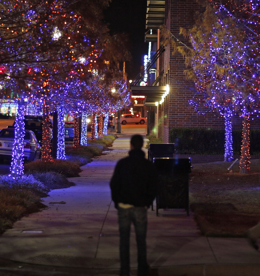 Photo - Christmas lights along Broadway in the area called Automobile Alley Tuesday, December 4, 2012. Photo by Doug Hoke, The Oklahoman