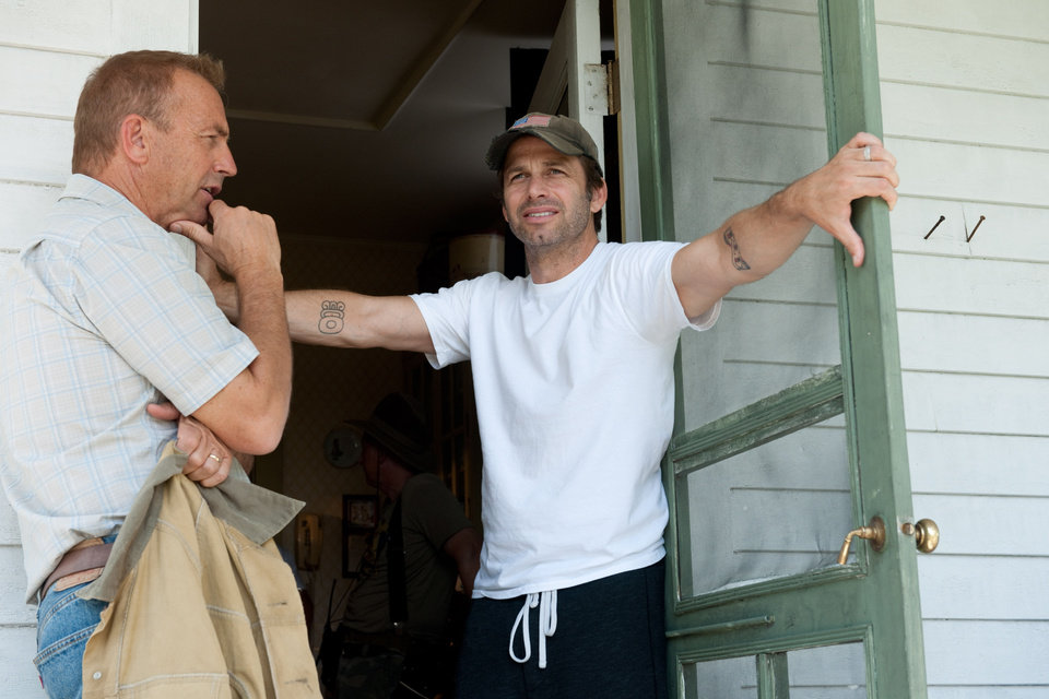 "Kevin Costner, left, is seen with director Zack Snyder on the set of ""Man of Steel.""  Warner Bros. photo <strong></strong>"