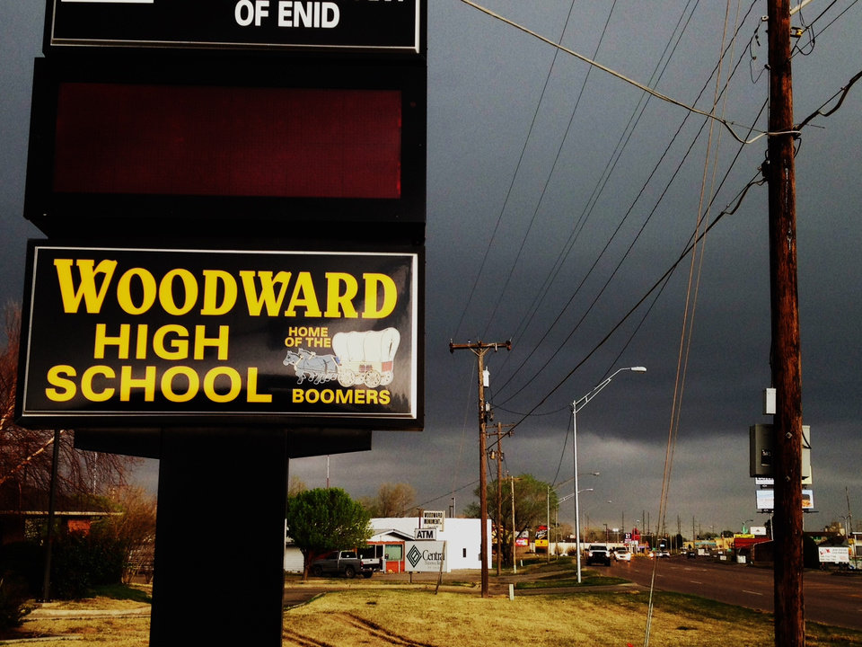 Photo - Dark clouds hover above Woodward on Tuesday morning. Photo by Jim Beckel
