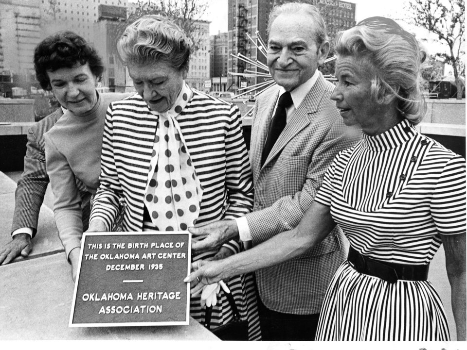 """Plaque commemorating the Oklahoma Art Center draws pleased attention from  Mayor Patience Latting, left, Mrs. Nan Sheets, Stanley Draper Sr. and Mrs. M. Briscoe Hoffman.""   Photo was taken on southeast corner of Sheridan and Robinson. Staff photo by Jim Argo taken 9/15/72; photo ran in the 9/15/72 Oklahoma City Times."