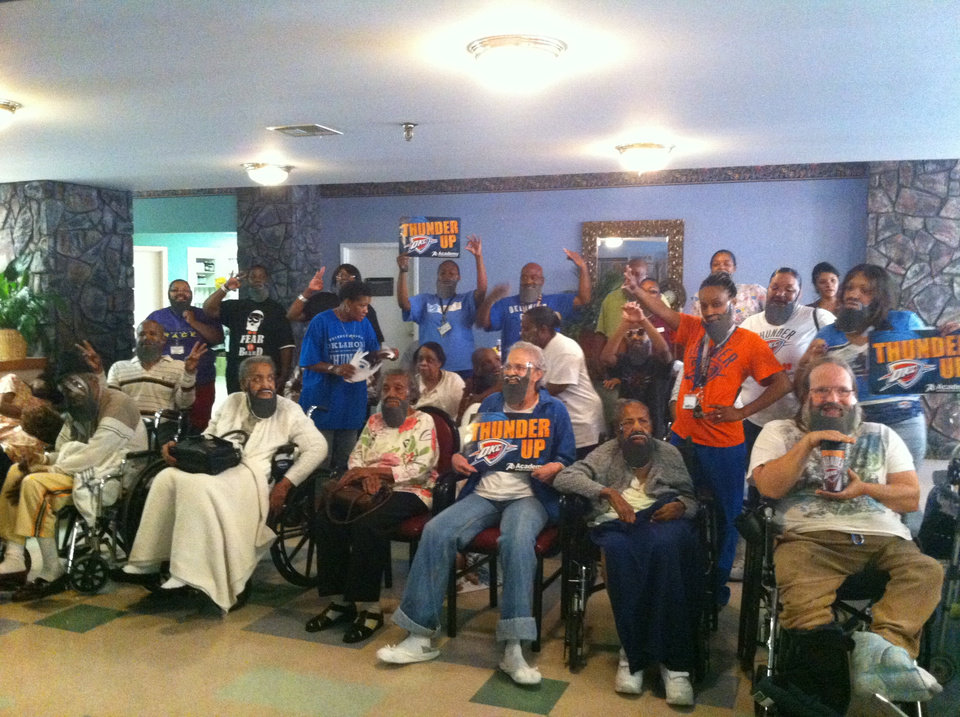 Residents and employees at Grace Living Center Wildewood, 1913 NE 50, don beards to cheer on the Oklahoma City Thunder during the NBA Finals.
