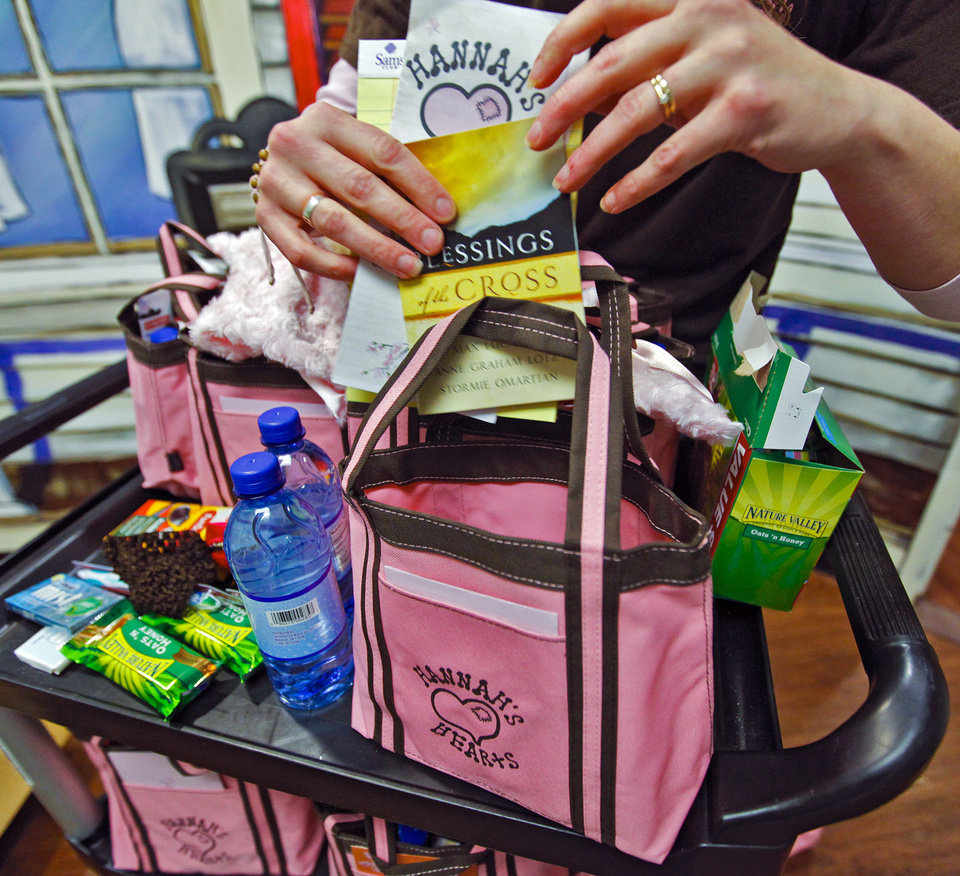 Photo - Deonna Linsky shows the items in one of the Hannah's Hearts bags that she delivers to families in the neonatal intensive care unit each month at OU Medical Center's Children's Hospital.  CHRIS LANDSBERGER - CHRIS LANDSBERGER