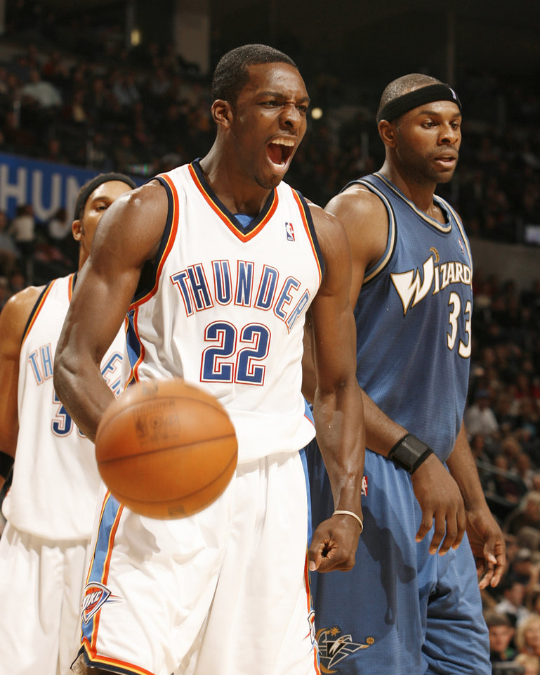 Photo - REACTION: Jeff Green reacts after a score during the first half as the Oklahoma City Thunder NBA basketball team plays the Washington Wizards at the Ford Center on Friday, Nov. 20, 2009, in Oklahoma City, Okla.  Photo by Steve Sisney, The Oklahoman ORG XMIT: KOD