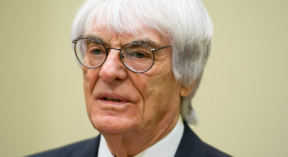 Photo - Formula One boss Bernie Ecclestone waits for the beginning of his trial after arriving in the regional court in in Munich, Germany, Thursday, April 24, 2014. Ecclestone is charged with bribery and incitement to breach of trust