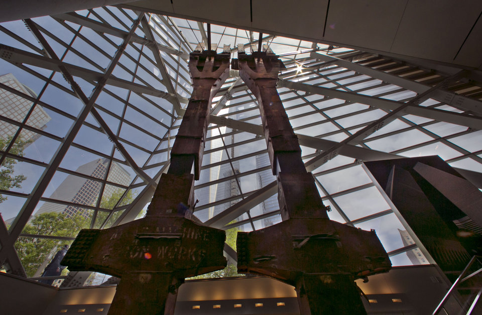 Photo - A pair of World Trade Center tridents, that once formed part of the exterior structural support of the east facade of the building, are displayed at the National Sept. 11 Memorial Museum, Wednesday, May 14, 2014, in New York. The museum is a monument to how the Sept. 11 terror attacks shaped history, from its heart-wrenching artifacts to the underground space that houses them amid the remnants of the fallen twin towers' foundations. It also reflects the complexity of crafting a public understanding of the terrorist attacks and reconceiving ground zero.  (AP Photo)