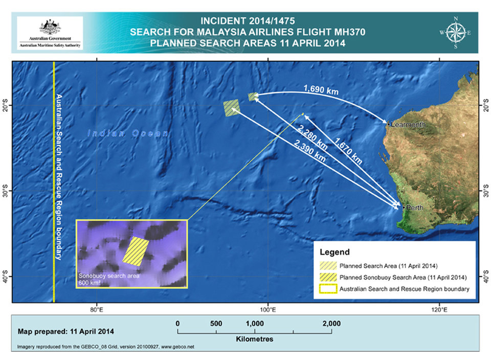 Photo - In this map provided on Friday, April 11, 2014, by the Joint Agency Coordination Centre, details are presented on the search for the Malaysia Airlines Flight 370 in the southern Indian Ocean off the Australian west coast. Australia's prime minister said on Friday authorities are confident that a series of underwater signals detected in a remote patch of the Indian Ocean are coming from the missing Malaysia Airlines plane. (AP Photo/Joint Agency Coordination Centre) EDITORIAL USE ONLY