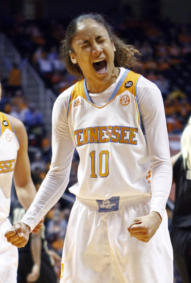 Photo - Tennessee guard Meighan Simmons (10) reacts to a play in the second half of an NCAA college basketball game against Vanderbilt, Monday, Feb. 10, 2014, in Knoxville, Tenn. Tennessee won 81-53. (AP Photo/Wade Payne)
