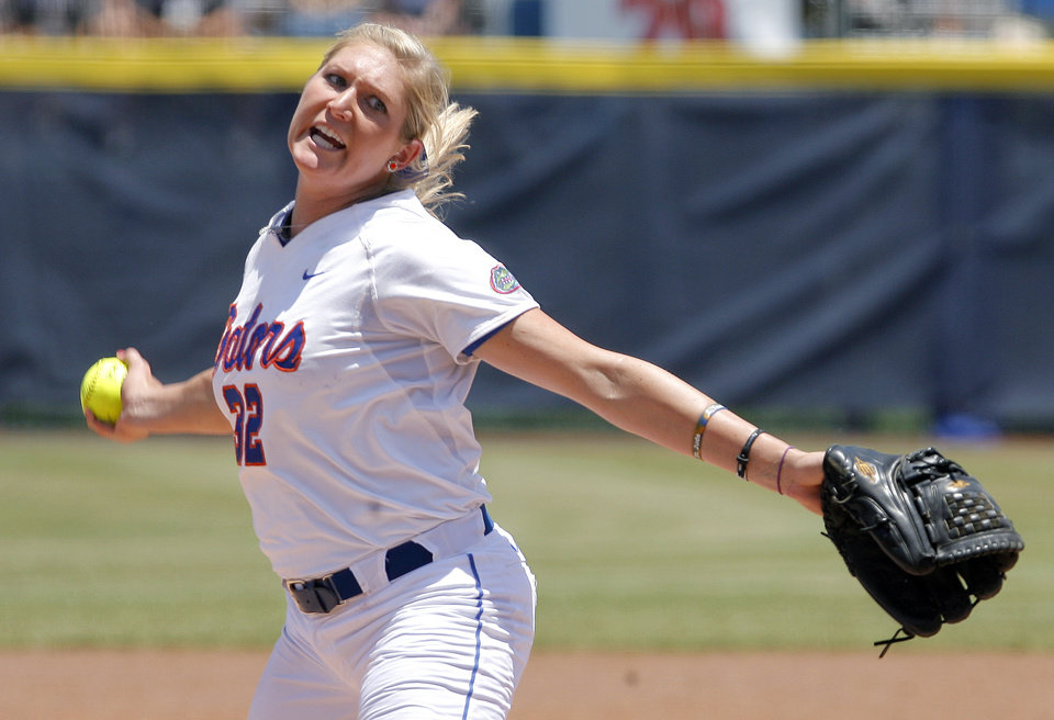 Photo - Florida's Stephanie Brombacher (32)during the Women's College World Series game between Florida and Alabama at the ASA Hall of Fame Stadium in Oklahoma City, Sunday, June 5, 2011. Photo by Garett Fisbeck, The Oklahoman