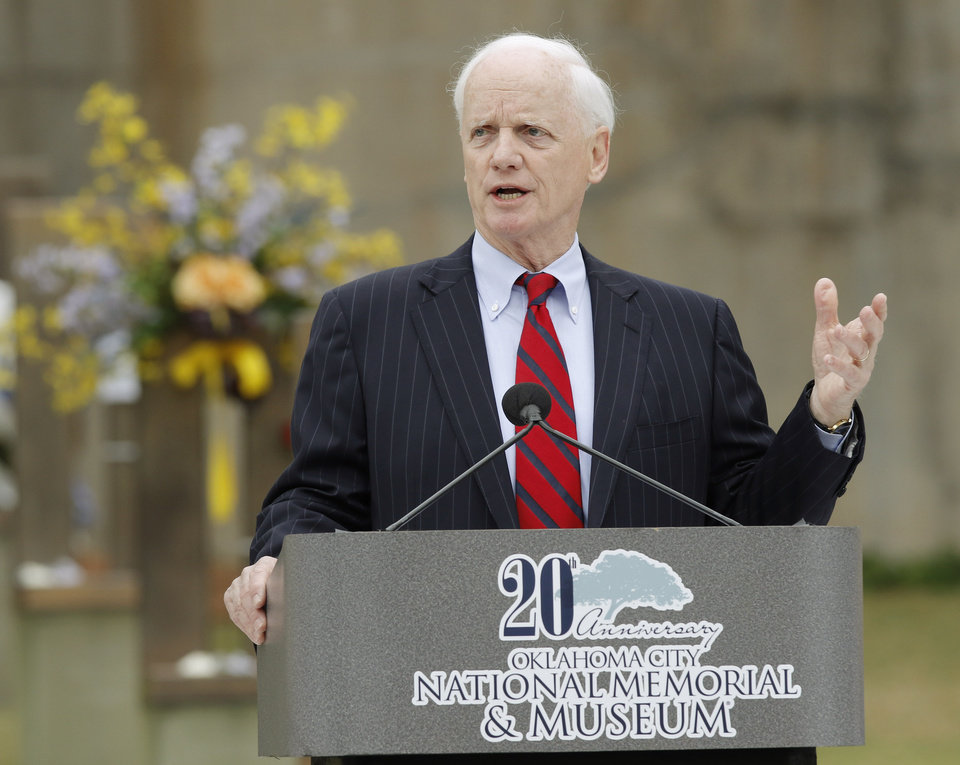 Photo - Former Governor of Oklahoma Frank Keating speaks during the 20th Anniversary Remembrance Ceremony, Sunday, April 19, 2015, at the Oklahoma City National Memorial & Museum in Oklahoma City. (Pool/Doug Hoke/The Oklahoman)
