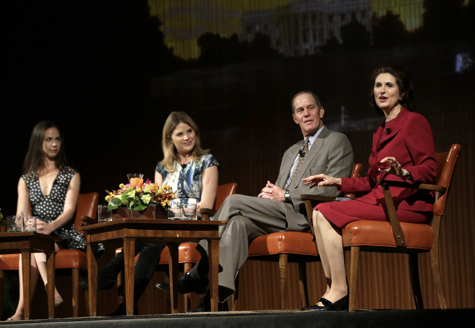 Lynda Johnson Robb, right, speaks during the Enduring Legacies of America's First Ladies conference as she is joined on stage by, from left to right, Barbara Pierce Bush, Jenna Bush Hager and Steve Ford Thursday, Nov. 15, 2012, in Austin, Texas. The children of three presidents discussed life in the White House as part of a conference on first ladies at the Lyndon B. Johnson Presidential Library. (AP Photo/David J. Phillip)
