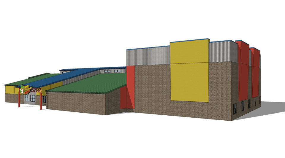 Photo -  A new 8,000-square-foot expansion at Andy Alligator's Fun Park will include an indoor rock wall and a multilevel laser attraction. Drawing provided