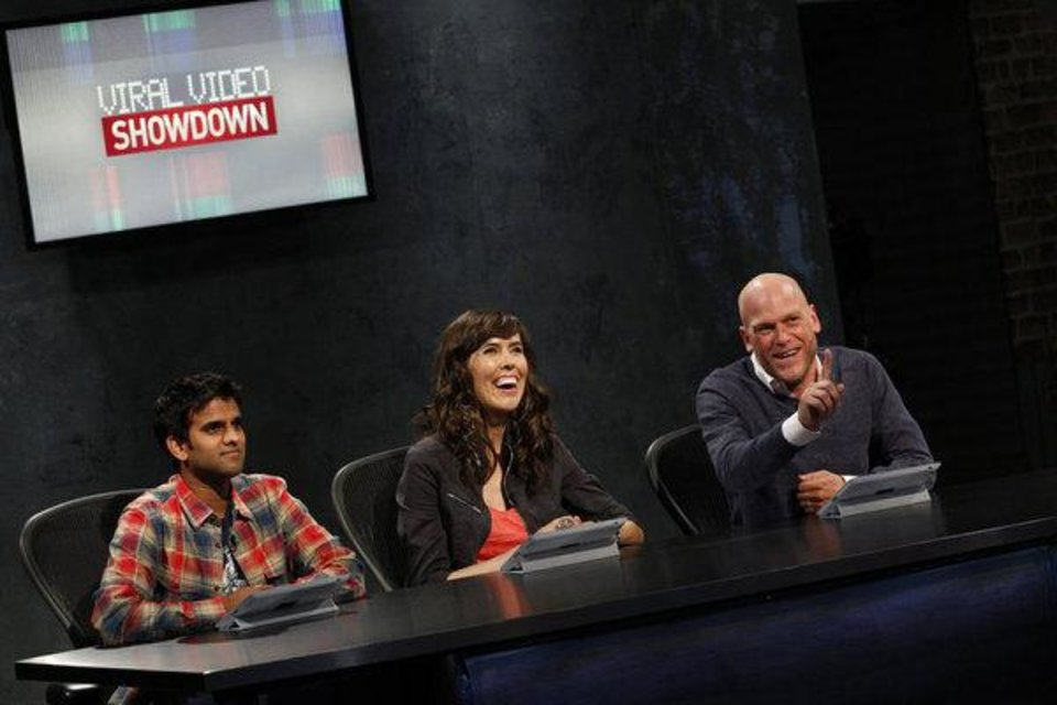"From left, judges Sandeep Parikh, Brittani Taylor and Adam Sessler are shown on ""Viral Video Showdown."" SYFY PHOTO <strong>Syfy</strong>"