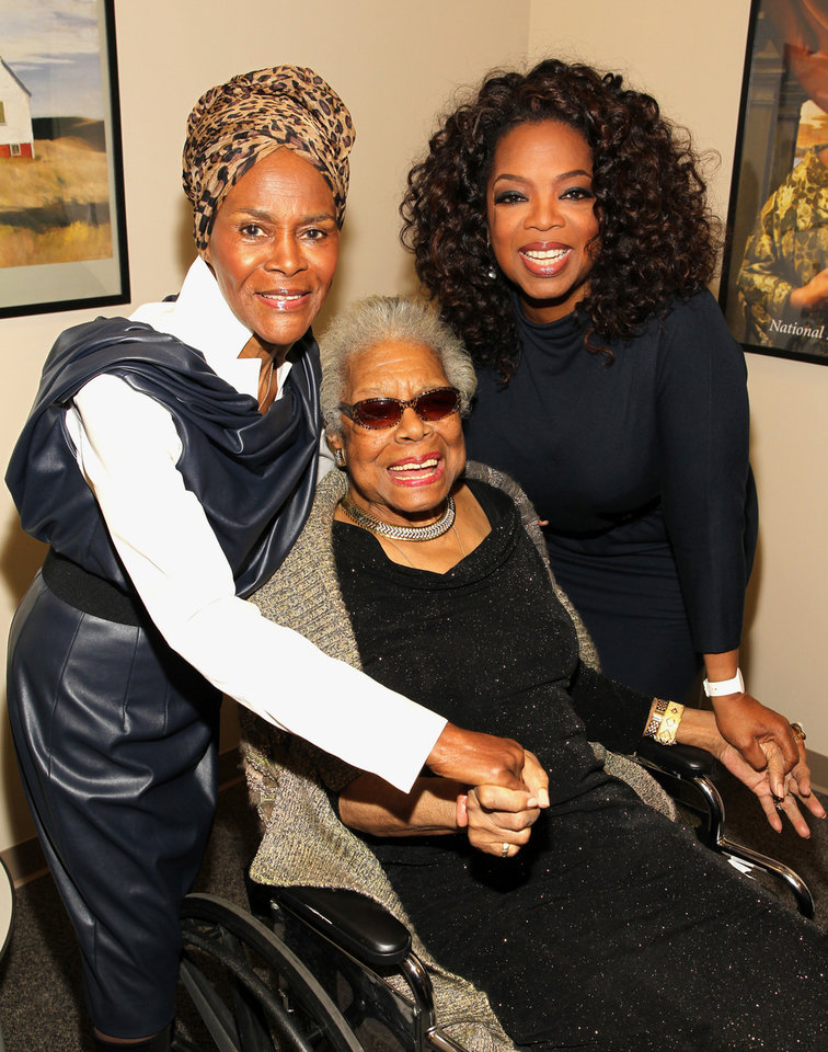 """Photo - In this April 5, 2014 photo provided by the National Portrait Gallery, Cicely Tyson, Maya Angelou and Oprah Winfrey pose for a photo backstage at Angelou's portrait unveiling at the Smithsonian's National Portrait Gallery in Washington. Angelou, a Renaissance woman and cultural pioneer, has died, Wake Forest University said in a statement Wednesday, May 28, 2014. She was 86.  Maya Angelou walked into a meeting of civil rights leaders discussing affirmative action, looked around, and put them all in their place with a single observation. """"She came into the room,"""" recalled Al Sharpton, """"and she said, 'The first problem is you don't have women in here of equal status. We need to correct you before you can correct the country.'"""" Angelou, who died Wednesday at age 86, will be forever known for her soaring poetry and her searing memoirs. But her impact transcended her written words. She was the nation's wise woman, a poet to presidents, an unapologetic conscience for the civil rights movement. Never hesitant to speak her mind, Angelou passionately defended women, and literature, and the right of younger generations to be heard. """"I've seen many things, I've learned many things,"""" she told The Associated Press in 2013. """"I've certainly been exposed to many things and I've learned something: I owe it to you to tell you."""