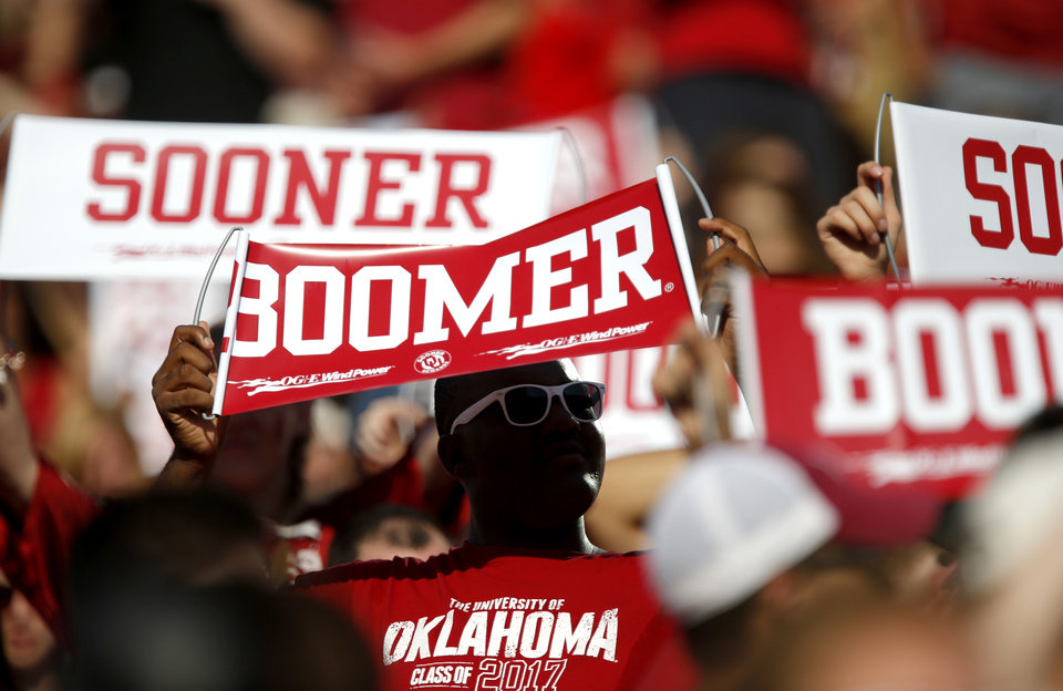 Fans wait for college football game between the University of Oklahoma Sooners (OU) and the West Virginia University Mountaineers at Gaylord Family-Oklahoma Memorial Stadium in Norman, Okla., on Saturday, Sept. 7, 2013. Photo by Bryan Terry, The Oklahoman
