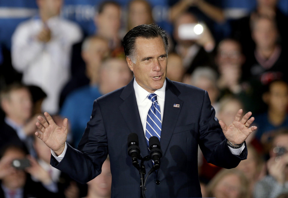 Photo -   Republican presidential candidate, former Massachusetts Gov. Mitt Romney gestures while speaking at a campaign event at Wisconsin Products Pavilion at State Fair Park, Friday, Nov. 2, 2012, in West Allis, Wis. (AP Photo/David Goldman)