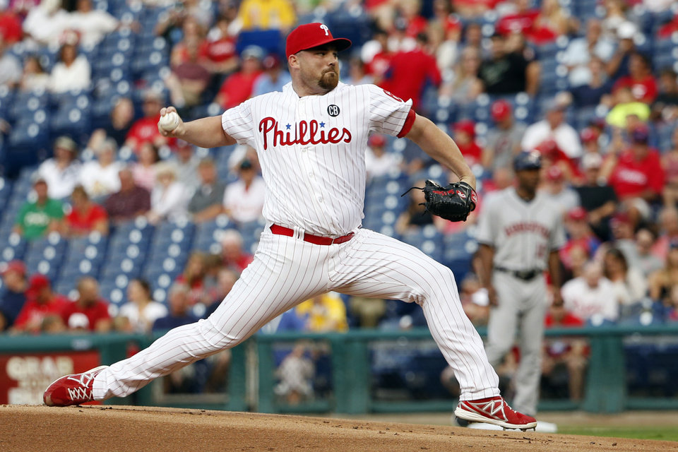 Photo - Philadelphia Phillies' Sean O'Sullivan pitches during the first inning of an interleague baseball game against the Houston Astros, Thursday, Aug. 7, 2014, in Philadelphia. (AP Photo/Tim Donnelly)