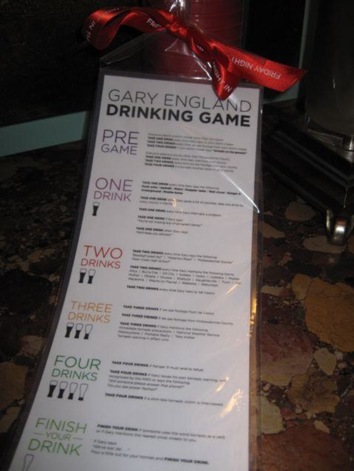 The Gary England Drinking Game rules. (Photo by Helen Ford Wallace).