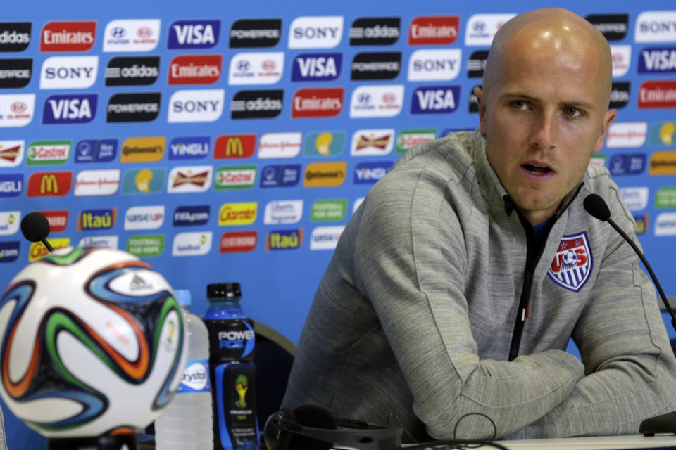 Photo - United States' Michael Bradley attends a press conference before an official training session the day before the group G World Cup soccer match between Ghana and the United States at the Arena das Dunas in Natal, Brazil, Sunday, June 15, 2014. (AP Photo/Dolores Ochoa)