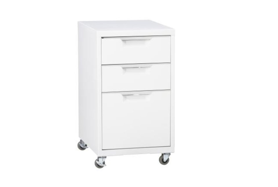 Photo -  TPS White 3-Drawer Filing Cabinet ($179, cb2.com). flooding. [CB2]