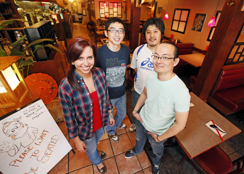 From left, Bonnie Murphy, Wes Wang, Ryosuke Hata and Dean Chen, members of the crew at Main Street Noodle in Stillwater. <strong>NATE BILLINGS - NATE BILLINGS</strong>