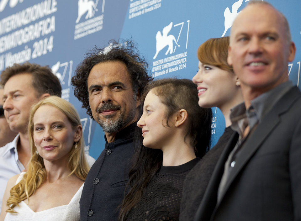Photo - From left, actors Edward Norton, Emma Stone, director Alejandro Inarritu, actors Andrea Riseborough, Emma Stone, and Michael Keaton pose during a photo call for the movie Birdman at the 71st edition of the Venice Film Festival in Venice, Italy, Wednesday, Aug. 27, 2014. (AP Photo/Andrew Medichini)