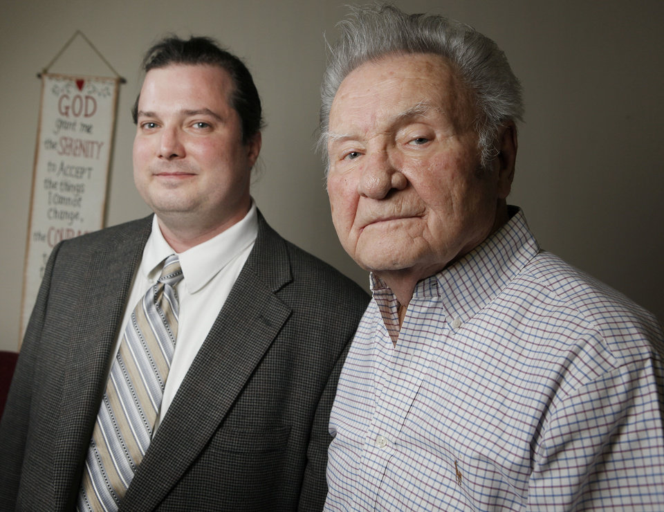 Photo - Dr. C.J. Shaw, an addictionologist, right, and Forrest Coin, a recovering addict, pose for a photo at Dr. Shaw's office, 10802 Quail Plaza Dr., in Oklahoma City, Friday, March 2, 2012. Photo by Nate Billings, The Oklahoman