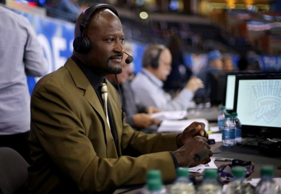 Photo -  Michael Cage (pictured) and TV play-by-play partner Chris Fisher will call Thunder games from 1,300 miles away beginning Friday, when OKC plays its first of three scrimmages at Disney World before the Aug. 1 season restart. [Bryan Terry/The Oklahoman]