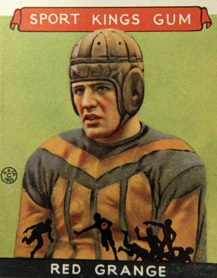 Photo - A Red Grange football trading card, shown Wednesday, Jan. 8, 2014, is part of an exhibit of vintage football cards to be shown at the Metropolitan Museum of Art in New York.  The pop-up exhibition of 150 cards, including a series from 1894, are part of approximately 600 from the museum's vast collection of sport trade cards donated to the Met by the late hobby pioneer Jefferson Burdick. Sunday, Jan. 12, 2014, in New York. The exhibit opens Jan. 24 and runs through Feb. 10. (AP Photo/Kathy Willens)