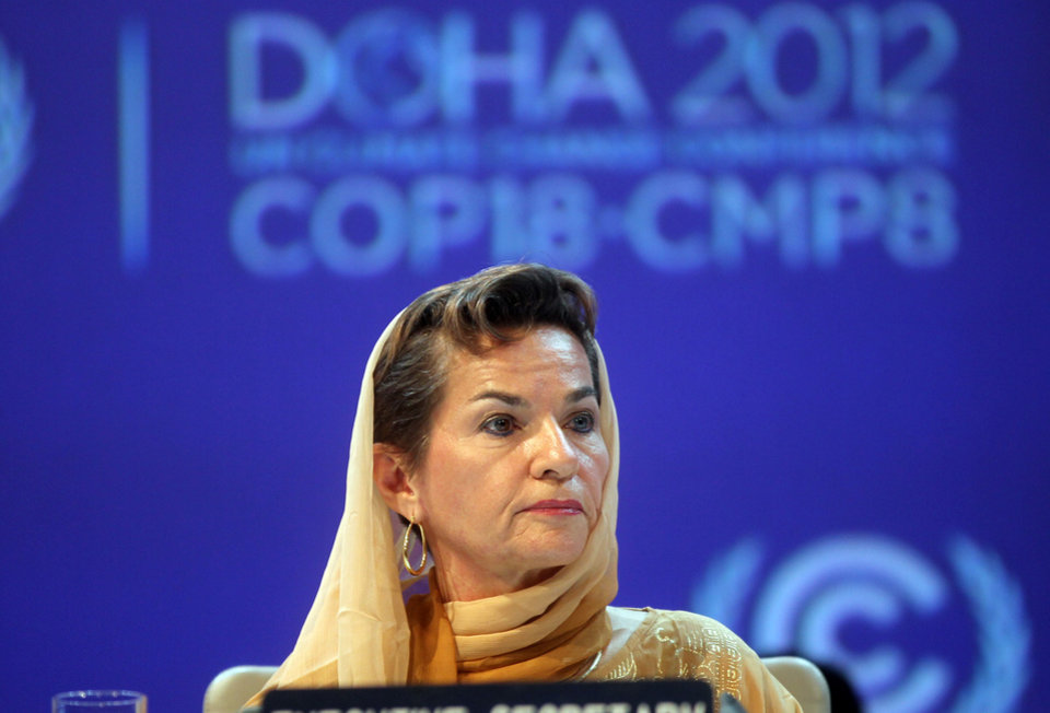 Photo - FILE - In this Monday, Nov. 26, 2012 file photo, Christiana Figueres, Executive Secretary of the United Nations Framework Convention on Climate Change (UNFCCC)  attends the opening session of the United Nations Climate Change conference in Doha, Qatar. The United Nations climate chief is urging people not to look solely to their governments to make tough decisions to slow global warming, and instead to consider their own role in solving the problem. Approaching the half-way point of two-week climate talks in Doha, Christiana Figueres, the head of the U.N.'s climate change secretariat, said Friday, Nov. 30, 2012 that she didn't see