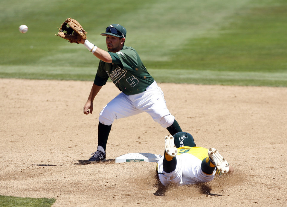Photo - Sacramento State's Kyle Moses beats the throw to Cal Poly shortstop Peter Van Gansen, left, during a steal in the third inning of an NCAA college baseball tournament regional game on Sunday, June 1, 2014, in San Luis Obispo, Calif. (AP Photo/Aaron Lambert)