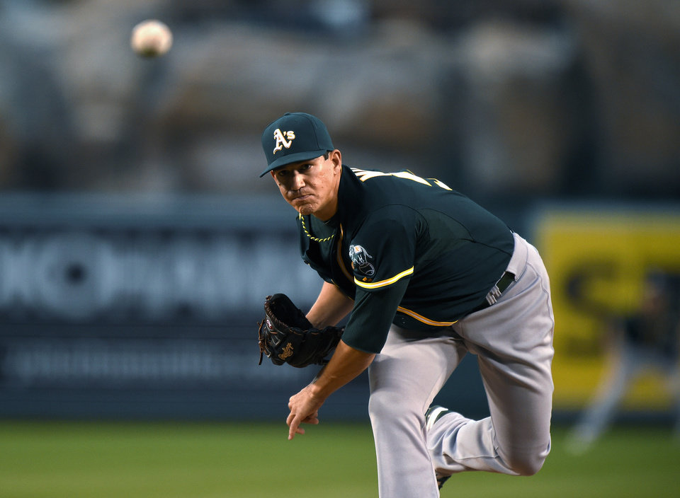 Photo - Oakland Athletics starting pitcher Tommy Milone throws to the plate during the first inning of a baseball game against the Los Angeles Angels, Wednesday, April 16, 2014, in Anaheim, Calif. (AP Photo/Mark J. Terrill)
