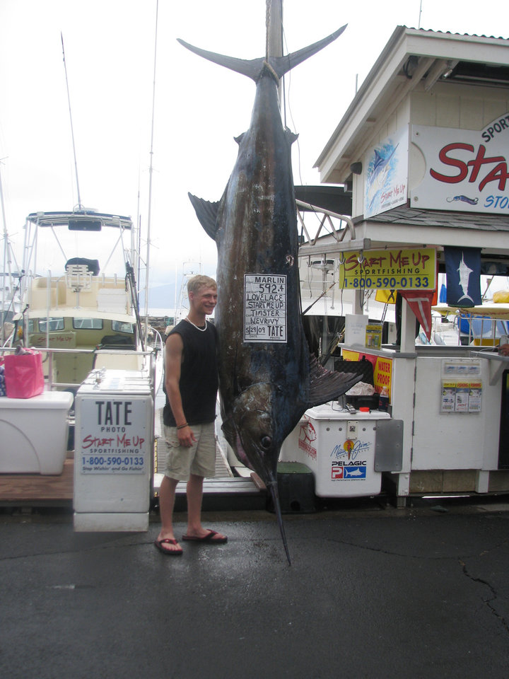 Photo -  Tyrel Lovelace of Anadarko with his 592-pound blue marlin