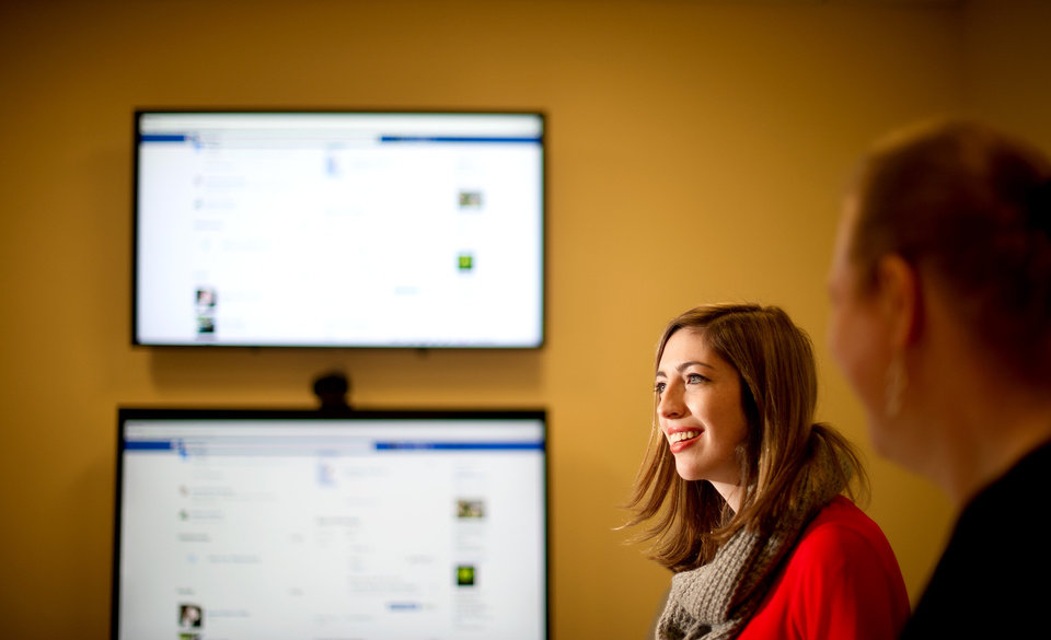 Photo - In this Wednesday, Feb. 12, 2014, photo, Facebook product manager Lexi Ross discusses expanded options for gender identification at her company's Menlo Park, Calif., headquarters. Facebook announced Thursday it is adding a customizable profile option with about 50 different terms people can use to identify their gender. (AP Photo/Noah Berger)