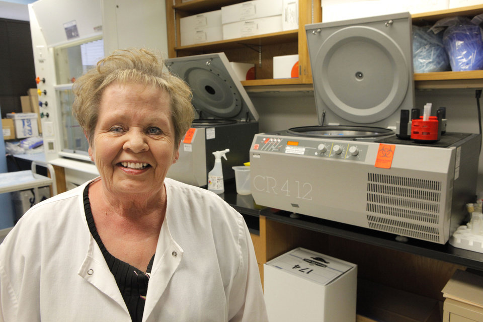 Ginger Roberts, at the Oklahoma Medical Research Foundation, talks about what it's like to be a healthy control in a medical research study. Photo By David McDaniel, The Oklahoman