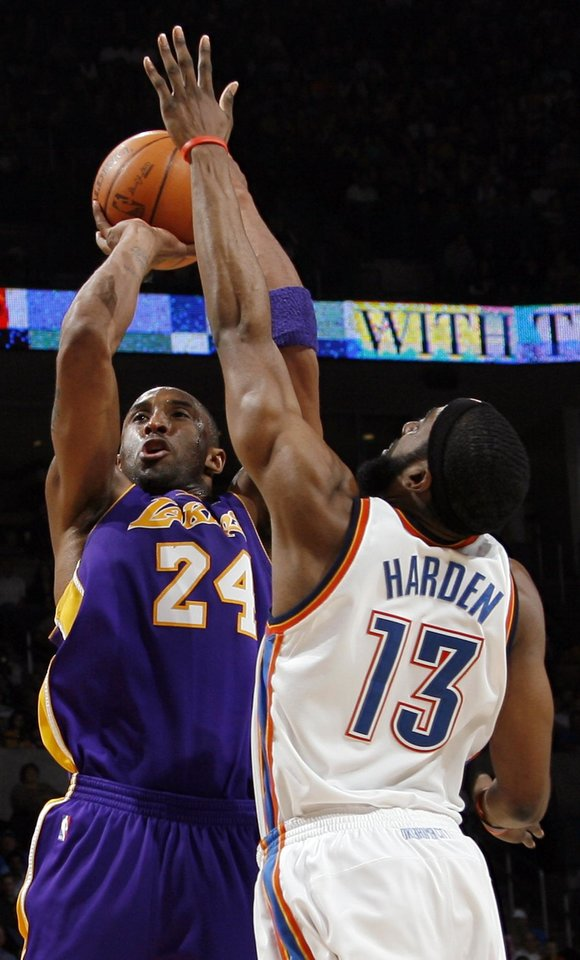 Kobe Bryant (24) of Los Angeles shoots over James Harden (13) of Oklahoma City during the NBA basketball game between the Los Angeles Lakers and the Oklahoma City Thunder at the Ford Center in Oklahoma City, Friday, March 26, 2010. Oklahoma City won, 91-75. Photo by Nate Billings, The Oklahoman