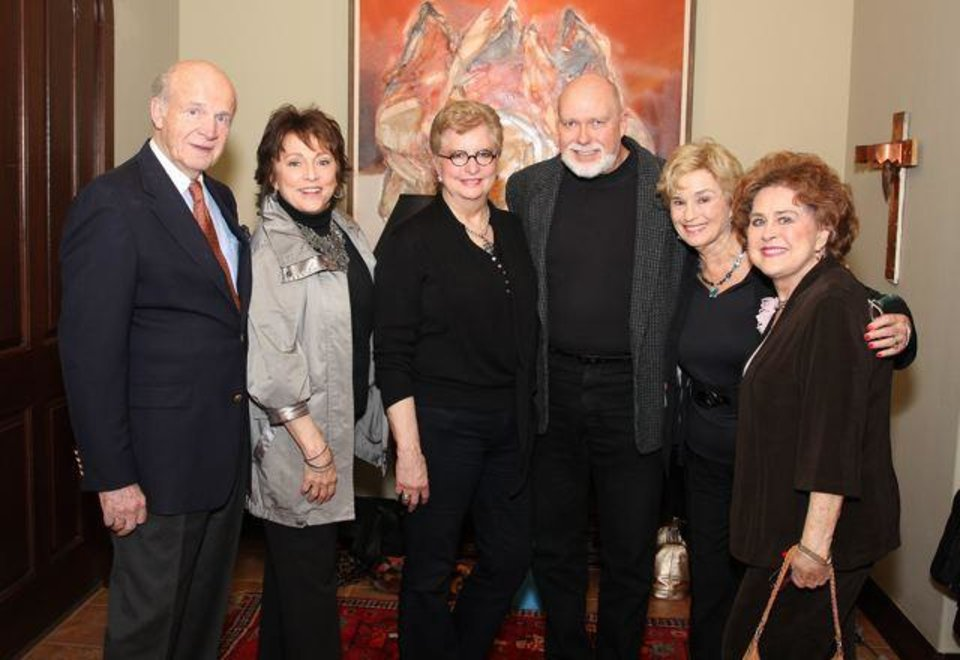 Ret. Gen. Jay Edwards, Kerry Robertson, Justice Yvonne Kauger, David Herendeen, Carol Sander, Charlotte Franklin were at the first cast party for the 2012 Oklahoma Senior Follies. Yvonne Kauger and Bobbie Burbridge Lane were hostesses in the Kauger home. (Photo by David Faytinger).