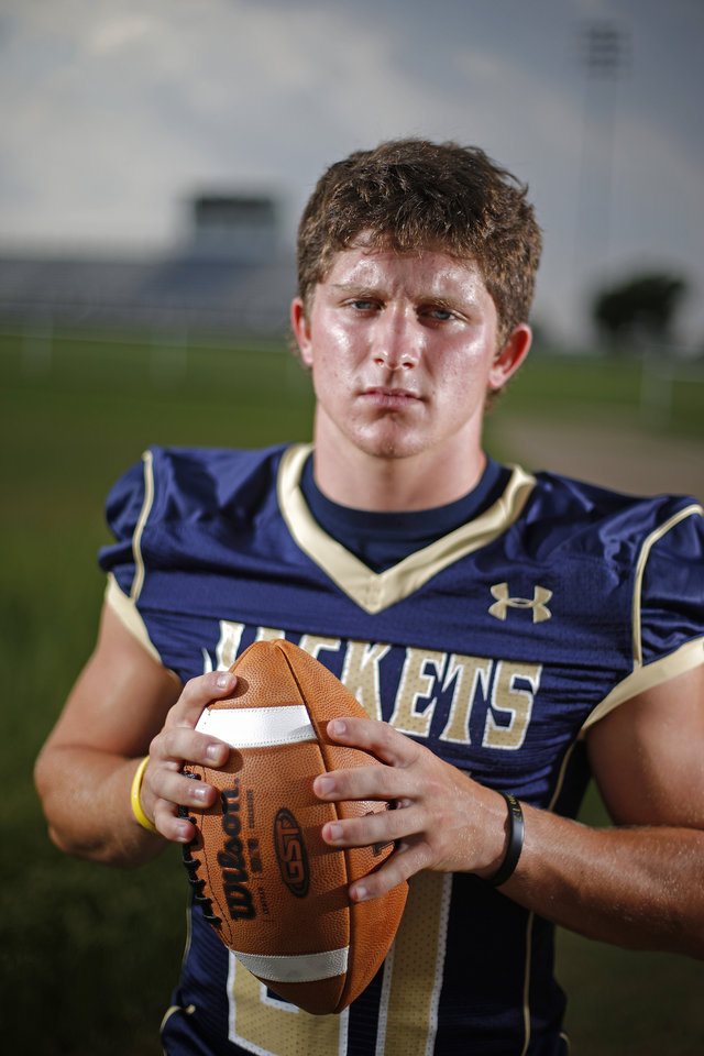HIGH SCHOOL FOOTBALL: Kingfisher RB Landon Nault poses for a portrait at Kingfisher High School on Thursday, August 15, 2013. Photo by Bryan Terry, The Oklahoman