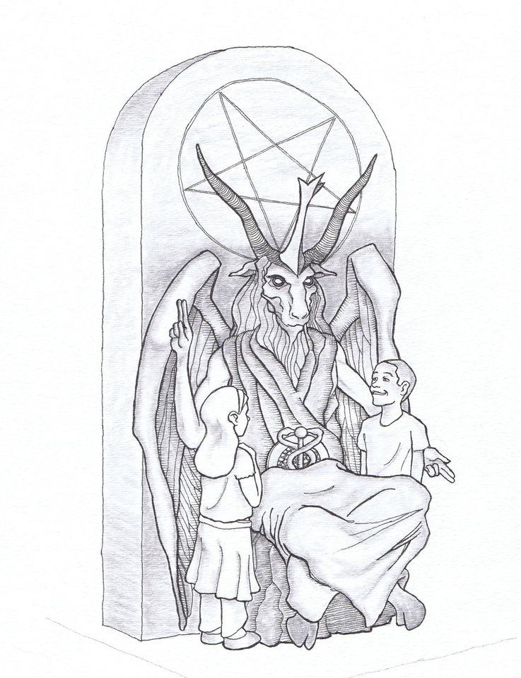 Photo - This artist's rendering provided by the Satanic Temple shows a proposed monument that the New York-based Satanic group wants to place at the Oklahoma state Capitol. The statue features a bearded, goat-headed demon sitting in a pentagram-adorned throne with children next to it. (AP Photo/Satanic Temple)