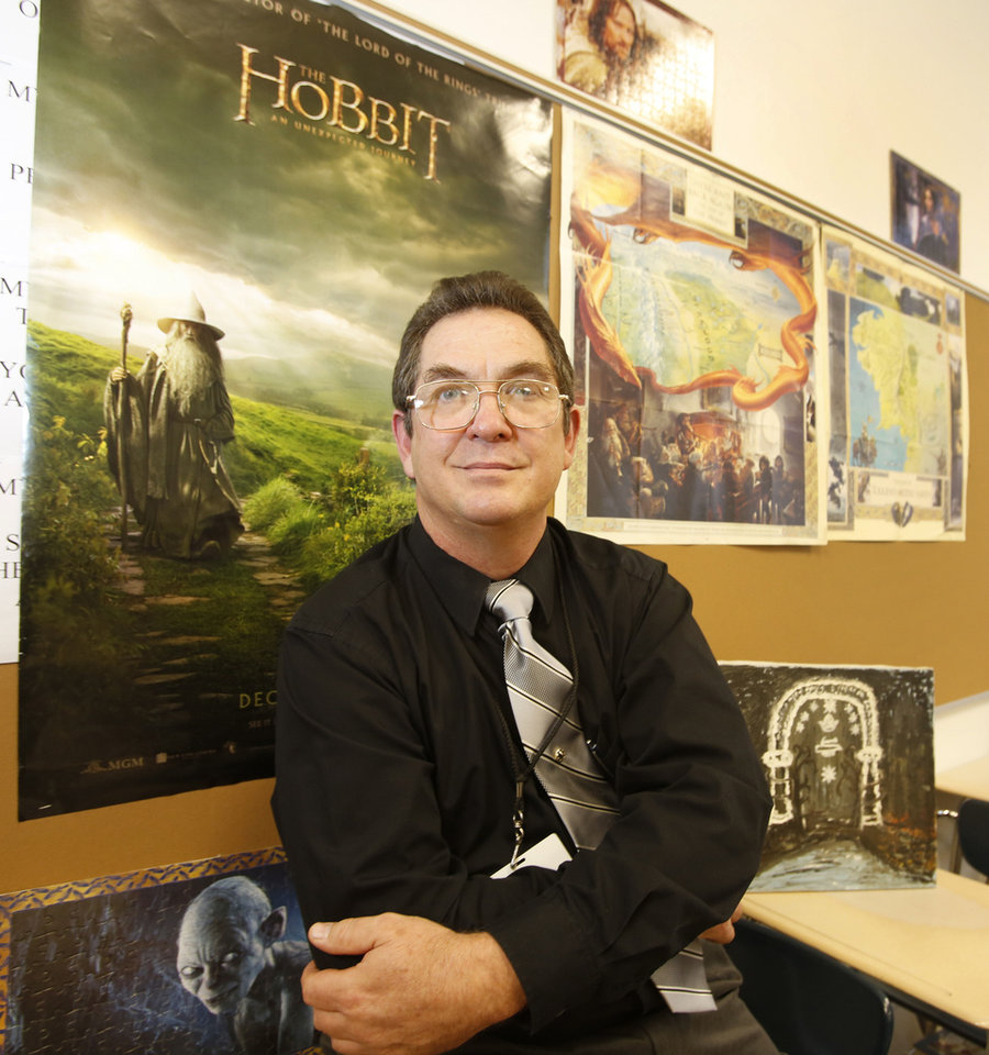 Neil Chaffin has a �Hobbit� poster in his classroom at Classen School of Advanced Studies in Oklahoma City.  Photo By Steve Gooch, The Oklahoman