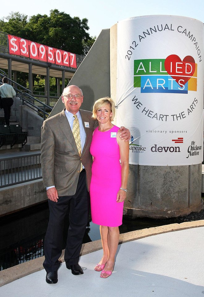 Photo - At the 2012 Allied Arts Campaign Celebration on Tuesday are campaign co-chairs James Pickel and Tricia Everest.