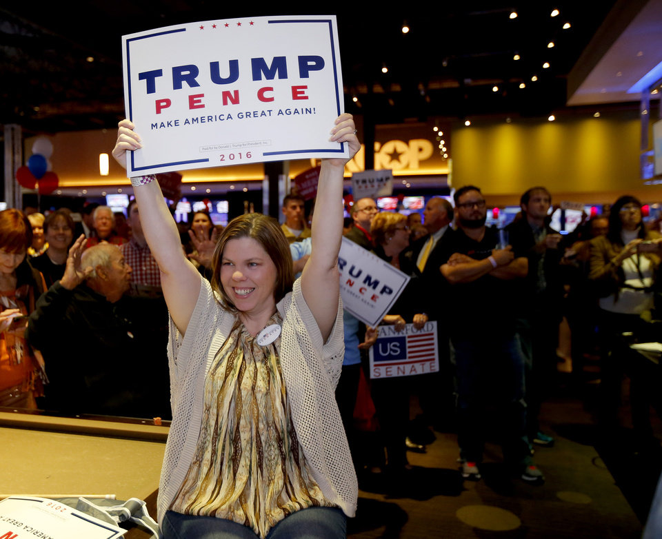 Photo - Missy Ligon of Yukon cheers for Donald Trump as Republican Party backers gathered Tuesday night at Main Event Entertainment in northwest Oklahoma City as election returns rolled in the presidential race against Donald Trump and Democrat Hillary Clinton. Oklahomans on Tuesday also cast votes on several state ballot measures, a host of legislative contests and other local issues and offices. Photo by Bryan Terry, The Oklahoman