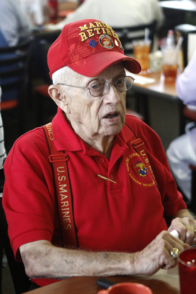 Photo - Korean War vet Roy Sherry speaks during a get-together of Korean War veterans at a Golden Corral in Oklahoma City, OK, Friday, July 26, 2013. The veterans got together to commemorate the 60th anniversary of the war's end.  Photo by Paul Hellstern, The Oklahoman
