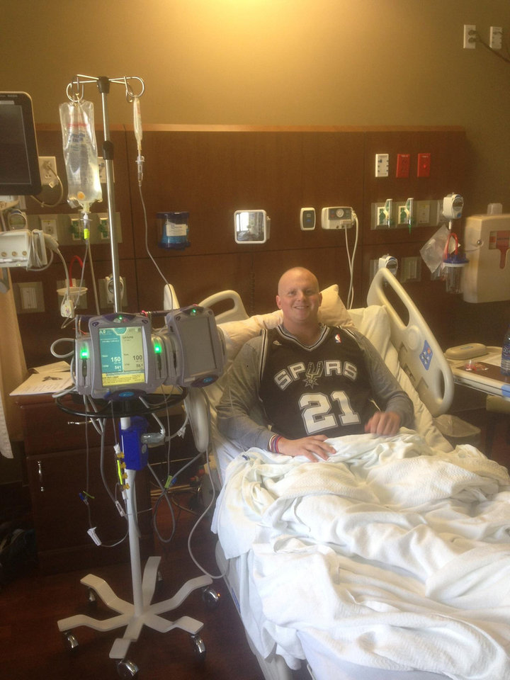 Oklahoma native Conner Davey has taken his love of the Spurs to the Baylor Cancer Hospital in Dallas. He is battling Hodgkin's lymphoma for the second time and recently had a stem cell transplant.  <strong> -  Photo provided </strong>