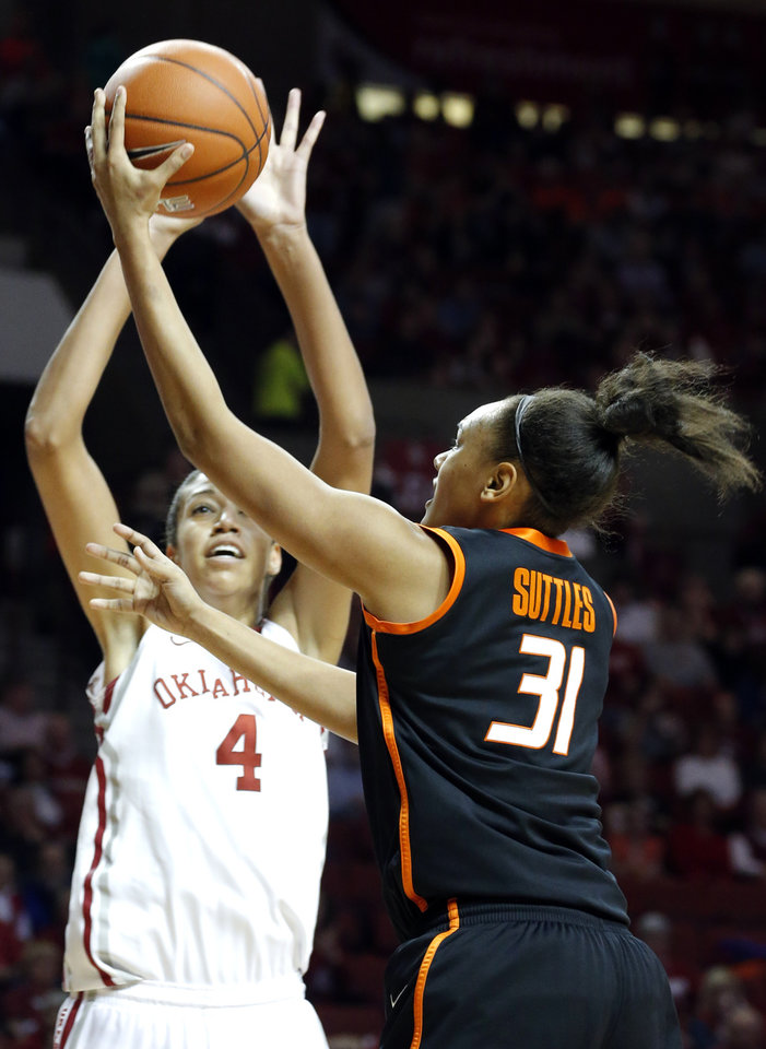 Oklahoma State's Kendra Suttles (31) shoots as Oklahoma's Nicole Griffin (4) defends her during the women's Bedlam basketball game between Oklahoma State University and Oklahoma at the Lloyd Noble Center in Norman, Okla., Sunday, Feb. 10, 2013.Photo by Sarah Phipps, The Oklahoman