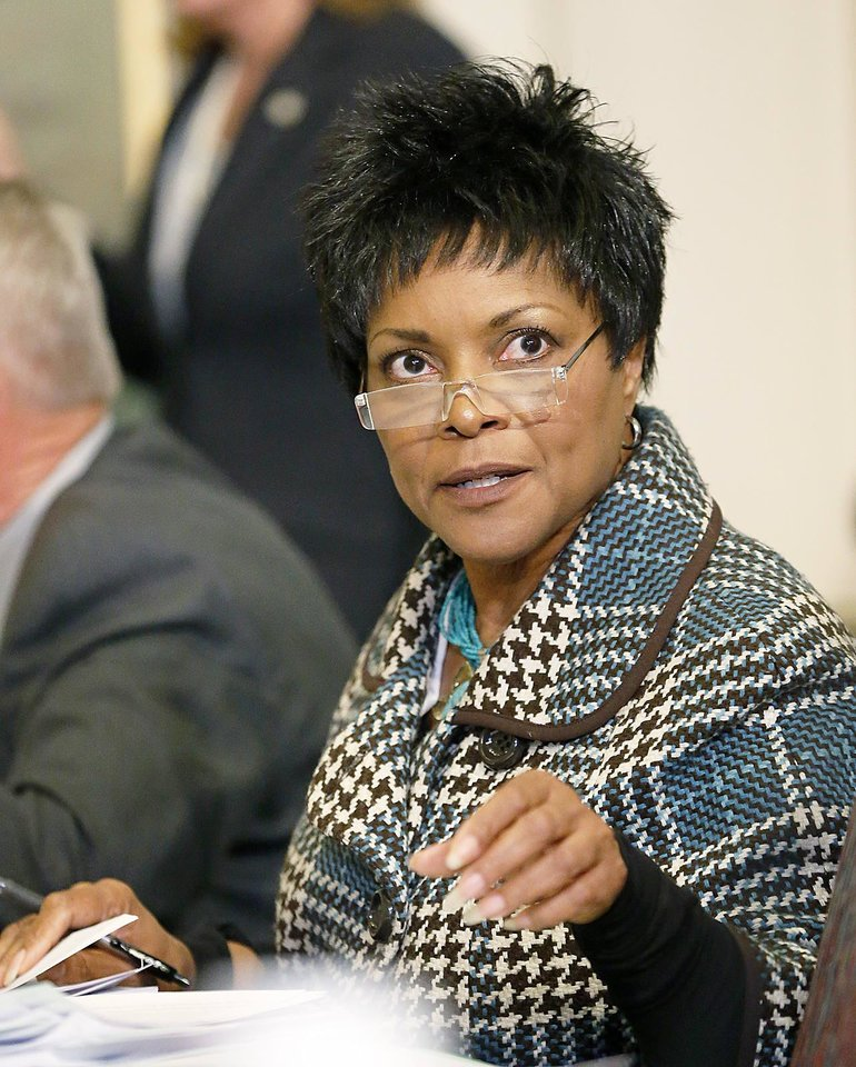 Sen. Constance Johnson, D-Oklahoma City, attend a 2013 Senate Health and Human Services Committee meeting in Oklahoma City. AP File Photo