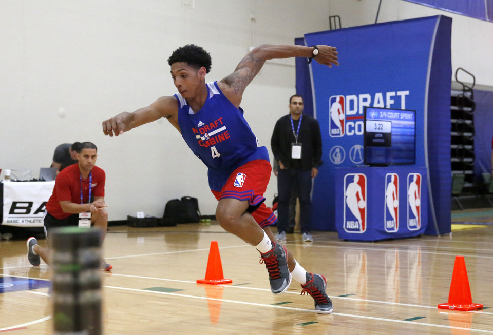 Photo -  Murray State's Cameron Payne participates in the NBA basketball combine on May 14 in Chicago. [AP Photo]