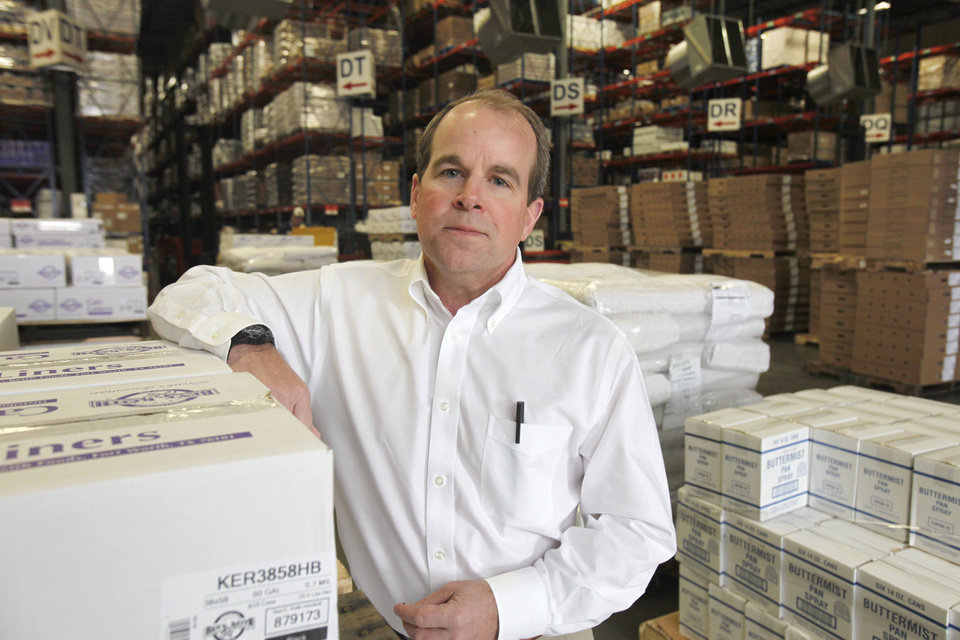 Kirk Purnell is pictured in the Ben E. Keith Co. foodservice distribution center he manages in southwest Edmond. The center, which employs 400, spans 350,000 square feet and is situated on 80 acres off Memorial between Santa Fe and Kelley. Photo by Paul Hellstern, The Oklahoman <strong>PAUL HELLSTERN</strong>