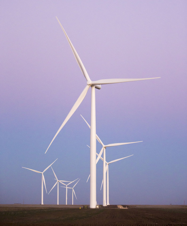 Photo - The Cowboy Wind Farm near Blackwell, Oklahoma, is providing 72 percent of the energy used on OSU's Stillwater campus. Photo: Phil Shockley/University Marketing, OSU